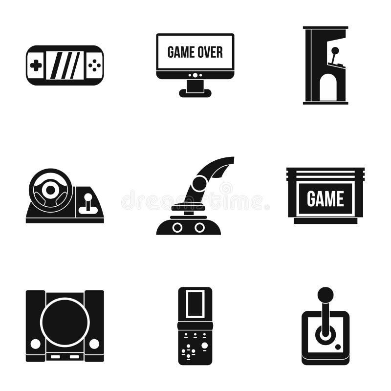 Ícones ajustados, estilo simples dos jogos da fantasia ilustração do vetor