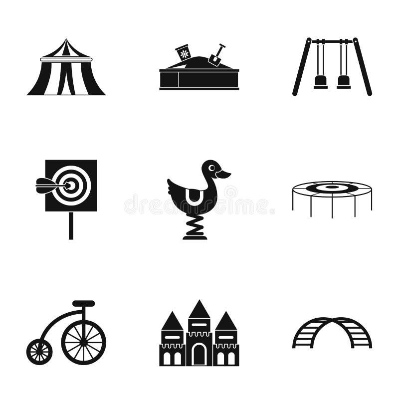 Ícones ajustados, estilo simples dos jogos das crianças ilustração stock