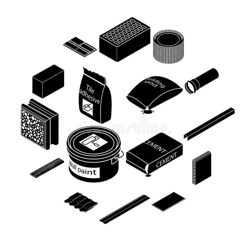 Ícones ajustados, estilo simples dos materiais de construção ilustração stock