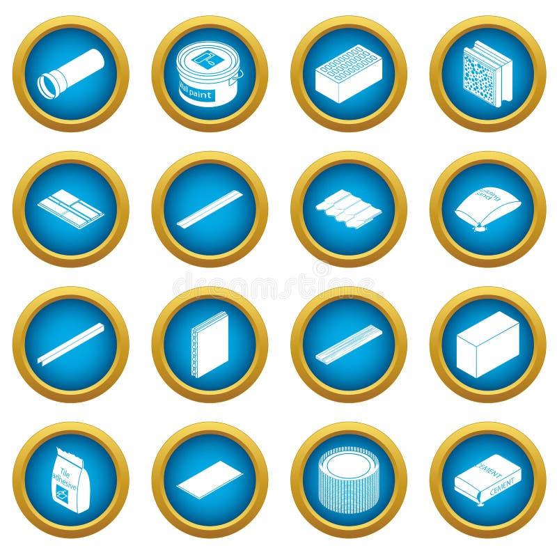 Ícones ajustados, estilo simples dos materiais de construção ilustração do vetor
