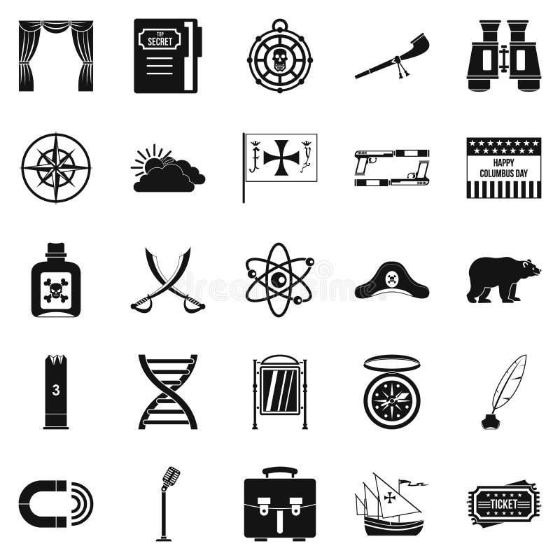 Ícones ajustados, estilo simples dos piratas ilustração stock