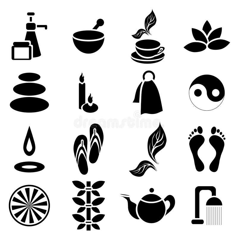 Ícones ajustados, estilo simples dos termas ilustração stock