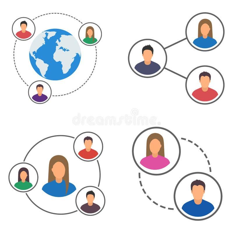 Ícones ajustados, grupo da rede dos povos da conexão dos povos ilustração royalty free