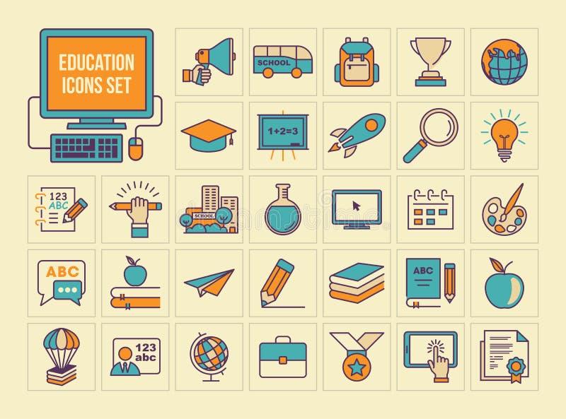Ícones ajustados, linha lisa colorida ícones da educação ilustração royalty free