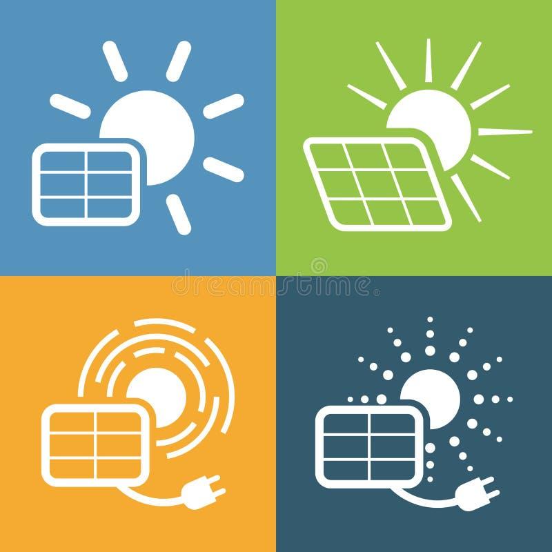 Ícones ajustados para o painel solar ilustração do vetor