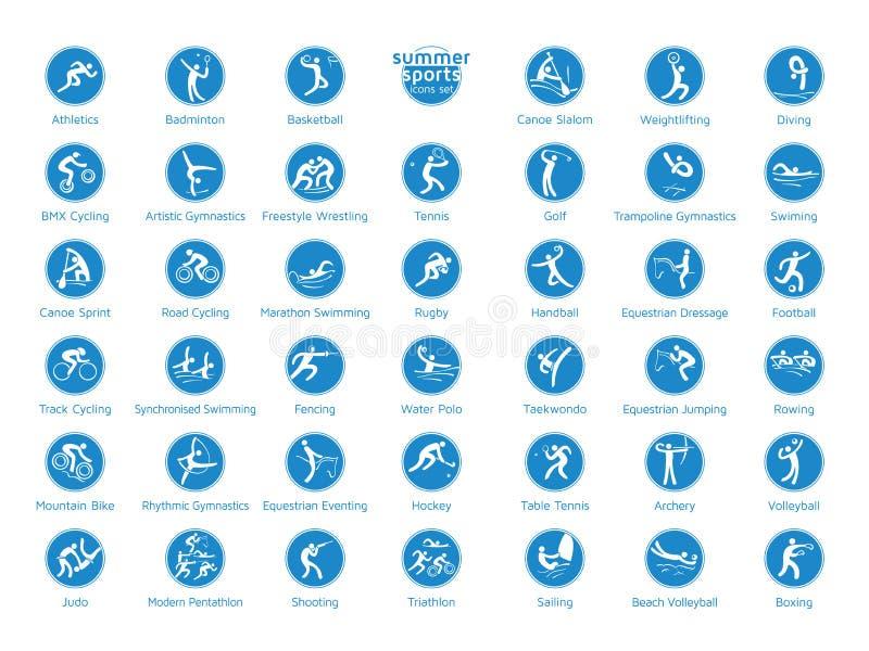 Ícones ajustados, pictograma dos esportes do verão do vetor ilustração royalty free