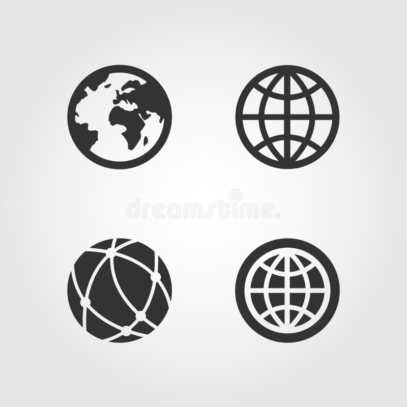 Ícones ajustados, projeto liso do globo da terra ilustração royalty free