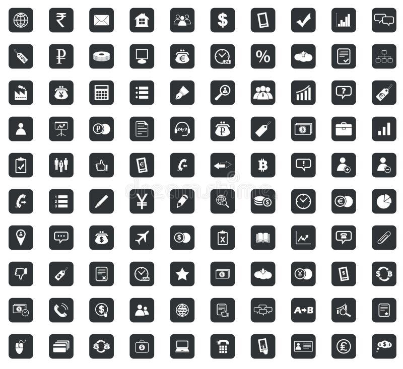100 ícones ajustados, quadrado do negócio, preto ilustração stock