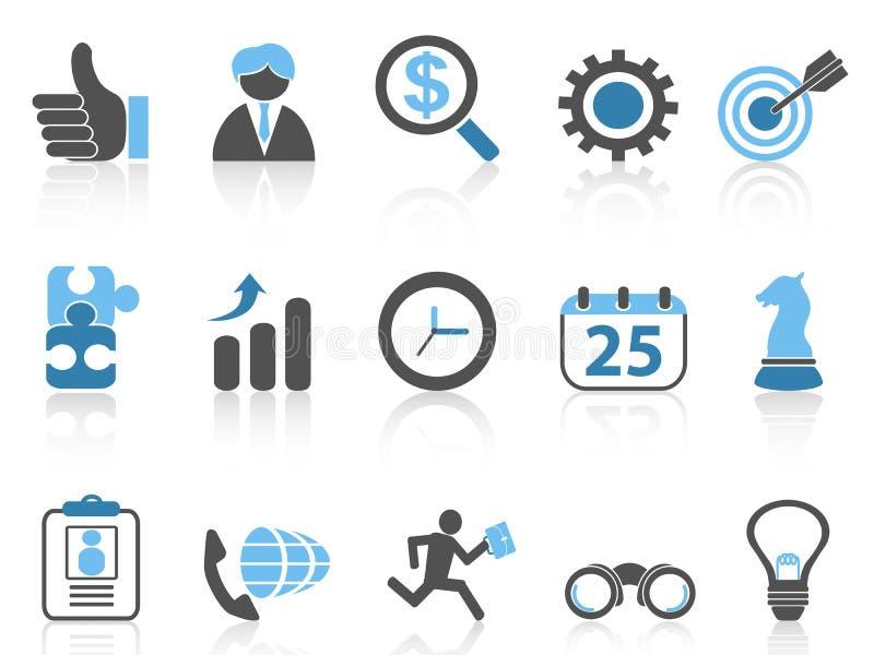 Ícones ajustados, série azul do negócio ilustração royalty free
