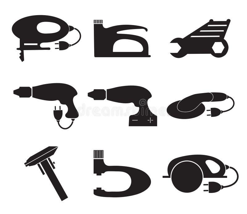 Ícones ajustados, silhueta preta do mecânico das ferramentas Logotipo do elemento, isolado em um fundo branco ilustração do vetor