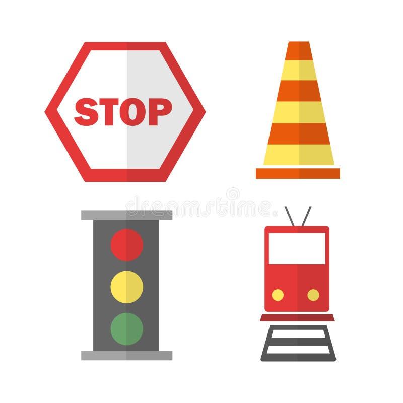 Ícones ajustados sobre o transporte com trem, pare o sinal, o cone e o sinal ilustração stock