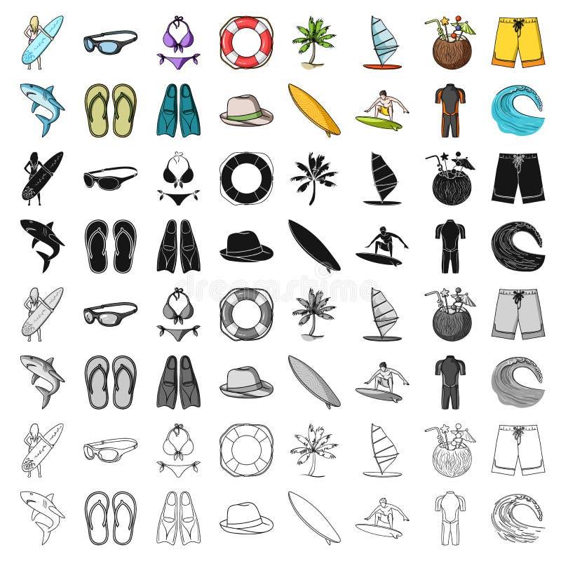 Ícones ajustados surfando no estilo dos desenhos animados Coleção grande da ilustração surfando do estoque do símbolo do vetor ilustração do vetor
