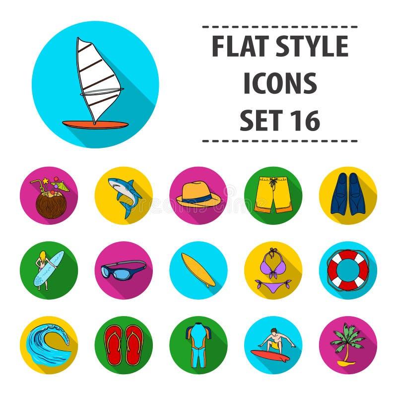 Ícones ajustados surfando no estilo liso Coleção grande da ilustração surfando do estoque do símbolo do vetor ilustração do vetor
