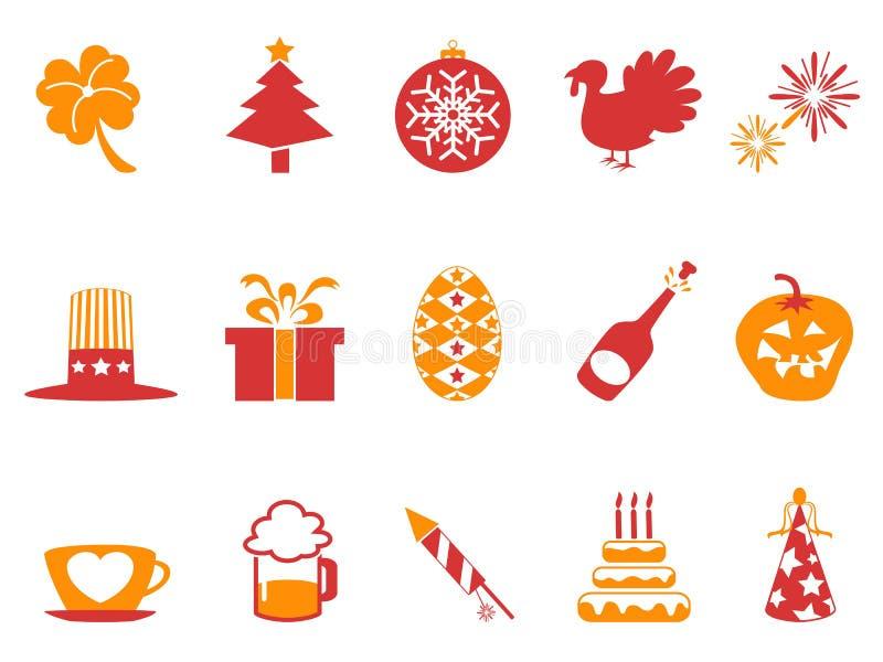 Ícones alaranjados do feriado da cor vermelha ajustados ilustração royalty free