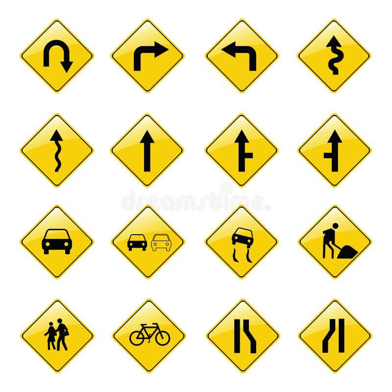 Ícones amarelos do sinal de estrada ilustração stock