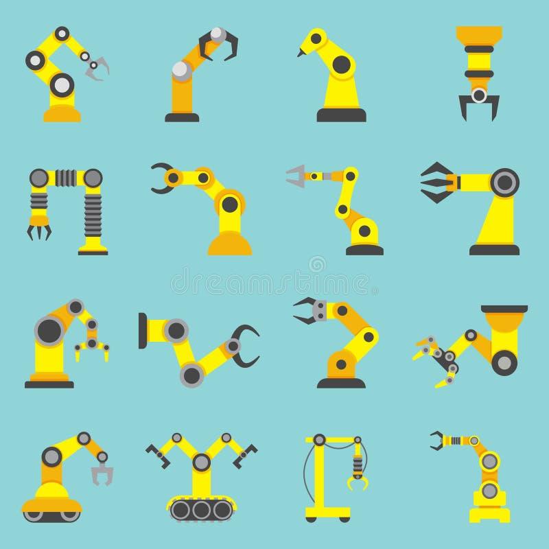Ícones amarelos lisos do braço robótico ajustados ilustração stock