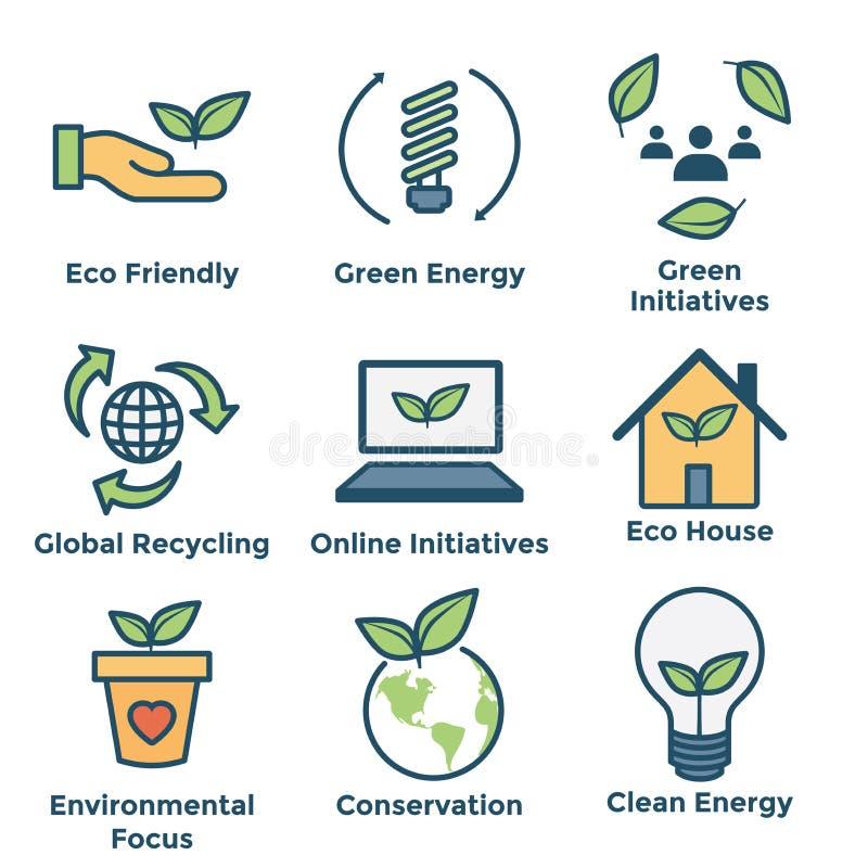 Ícones ambientais com energia verde, casa do eco, e iniciativas da terra ilustração stock