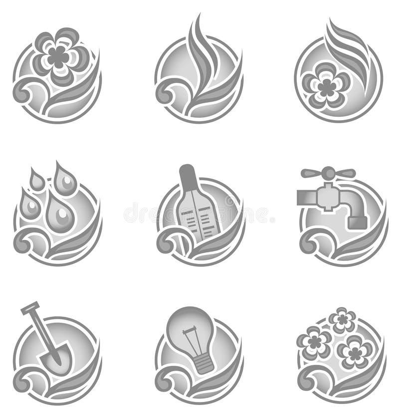 Ícones ambientais no cinza ilustração do vetor