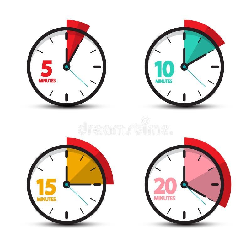 5, 10, 15, 20 ícones análogos do pulso de disparo dos minutos ilustração royalty free