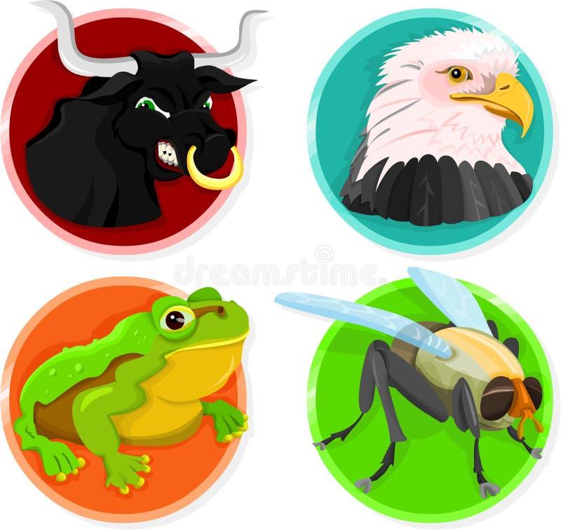 Ícones animais ilustração royalty free