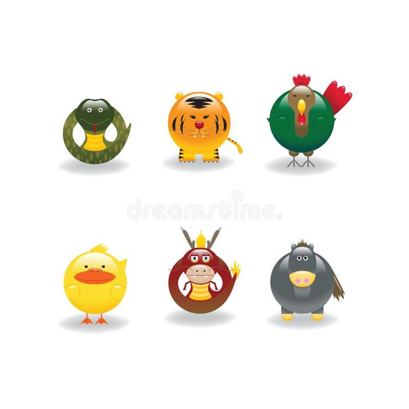 Ícones animais 5 ilustração stock