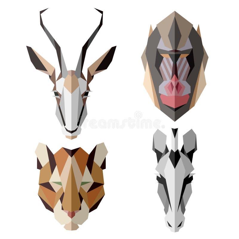 Ícones animais africanos, grupo do ícone do vetor Estilo triangular abstrato ilustração stock