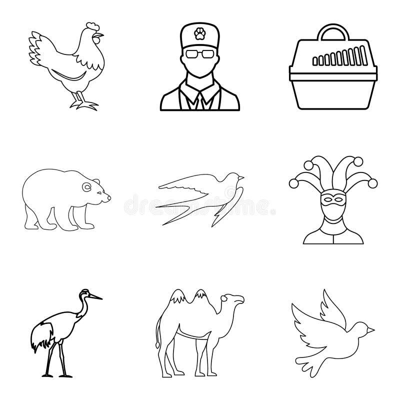 Ícones animais ajustados, estilo do deleite do esboço ilustração royalty free