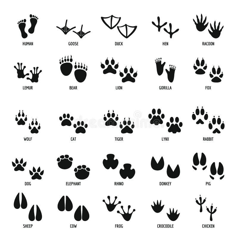 Ícones animais ajustados, estilo simples da pegada ilustração stock