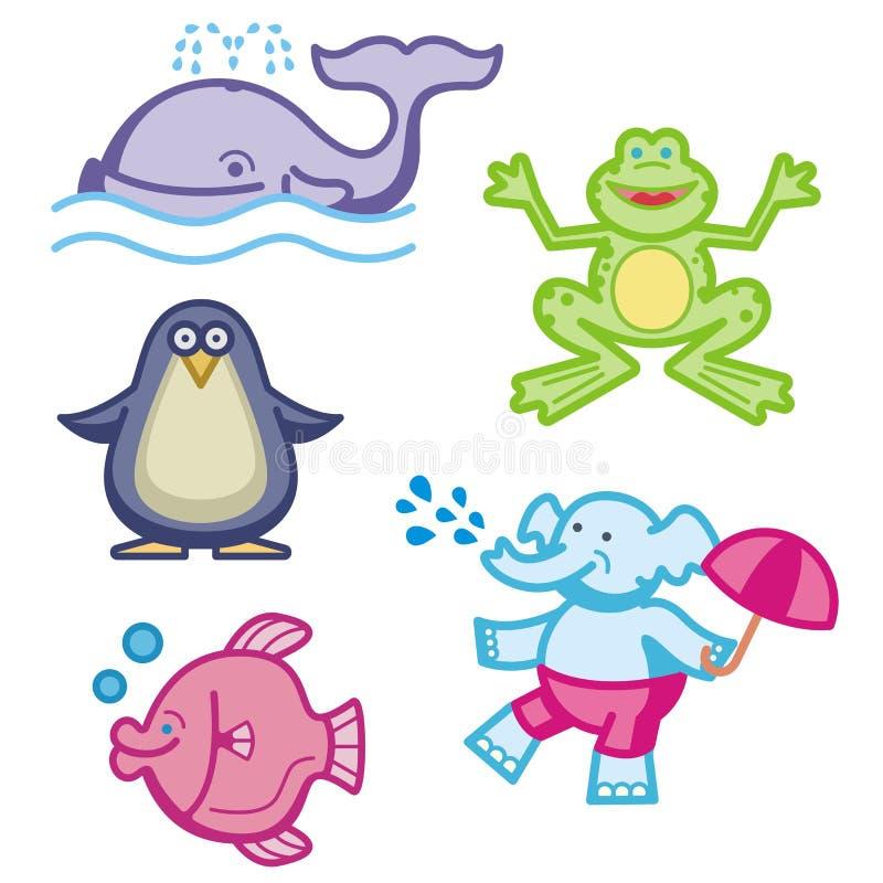Ícones animais bonitos ilustração do vetor