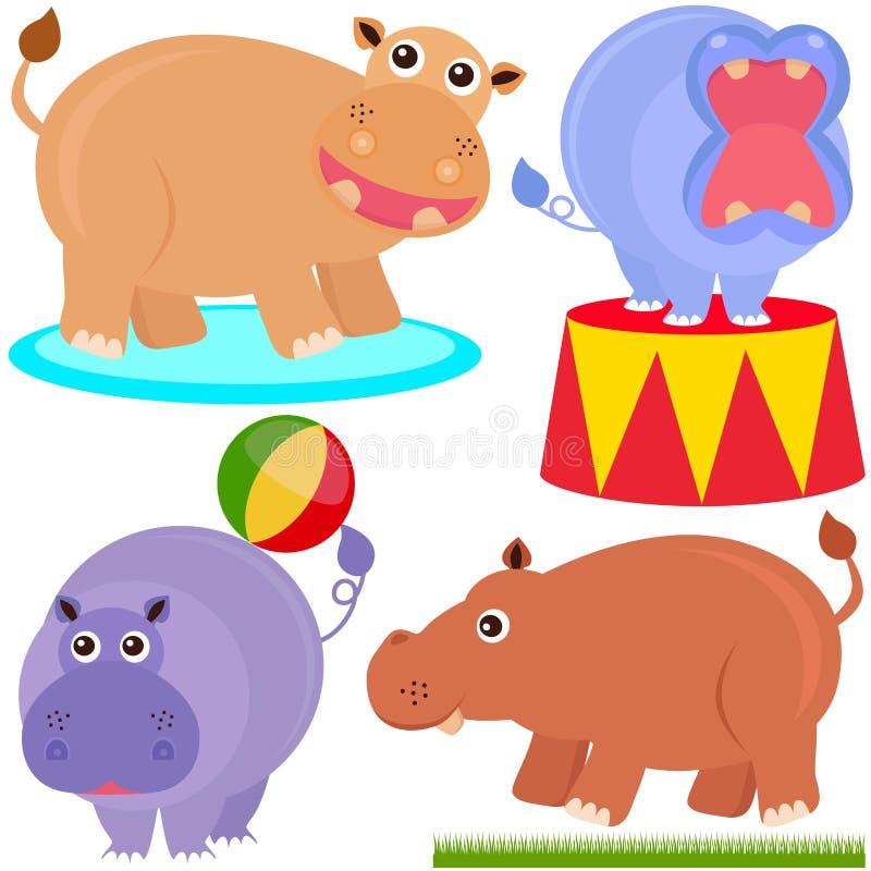 Ícones animais bonitos do vetor: hippopotamus (hipopótamo) ilustração royalty free