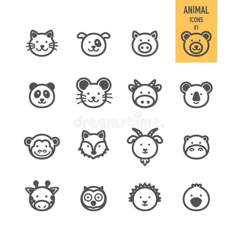 Ícones animais da cara ajustados ilustração royalty free