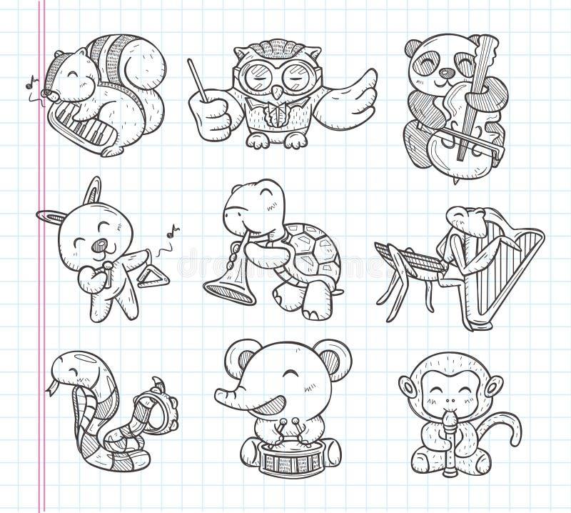 Ícones animais da faixa da música da garatuja ilustração royalty free