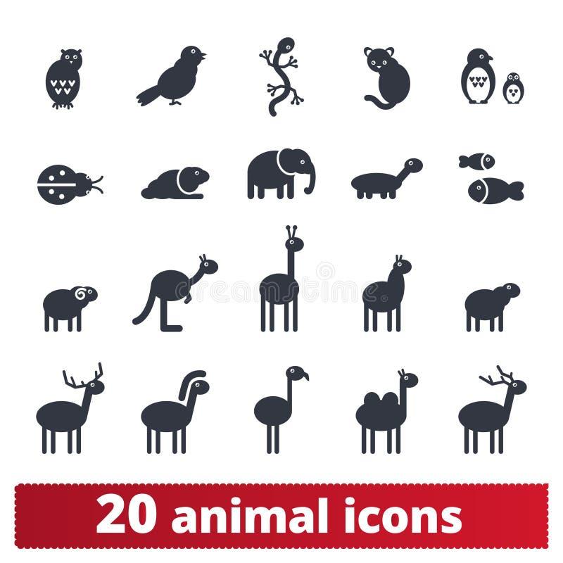 Ícones animais da silhueta dos desenhos animados bonitos ilustração do vetor