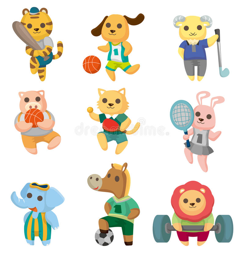 Ícones animais do jogador do esporte dos desenhos animados ajustados ilustração stock