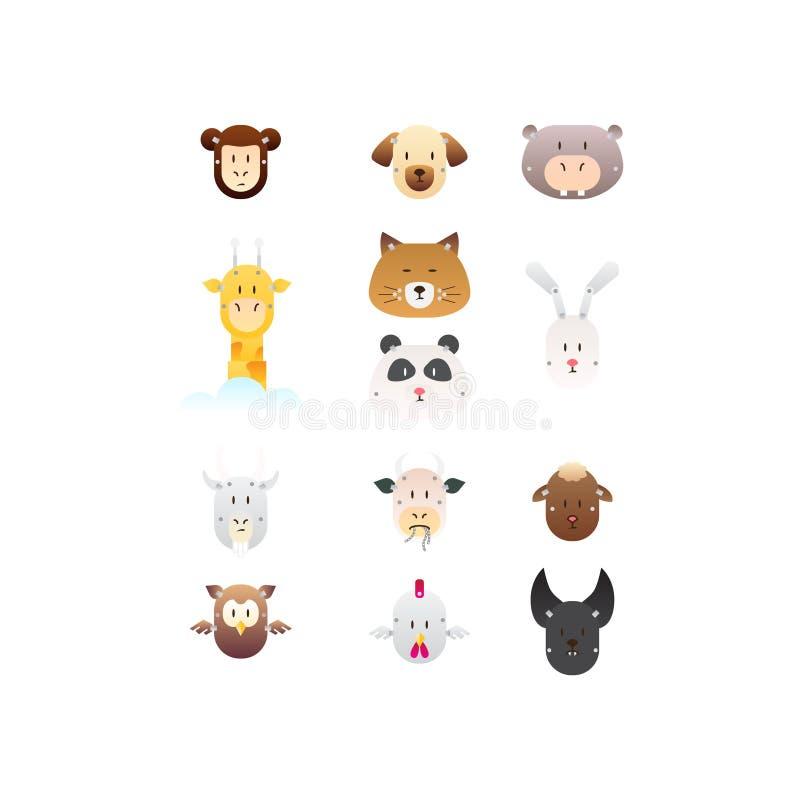 Ícones animais do robô ajustados ilustração stock
