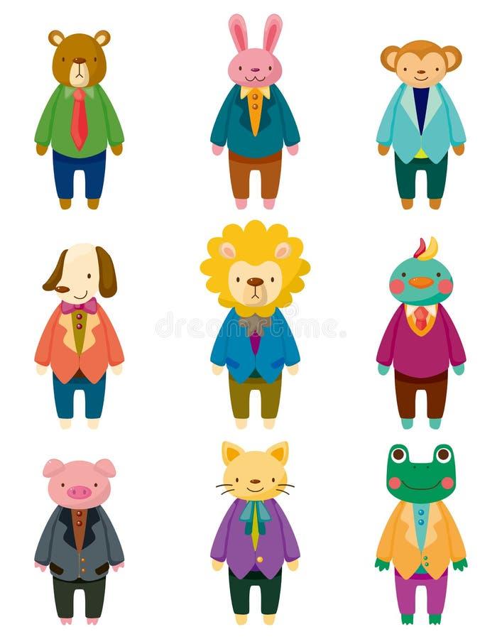 Ícones animais do trabalhador de escritório dos desenhos animados ilustração royalty free