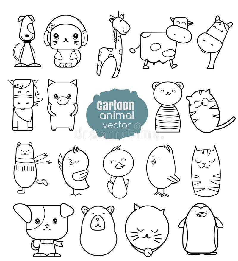 Ícones animais dos desenhos animados ajustados ilustração stock