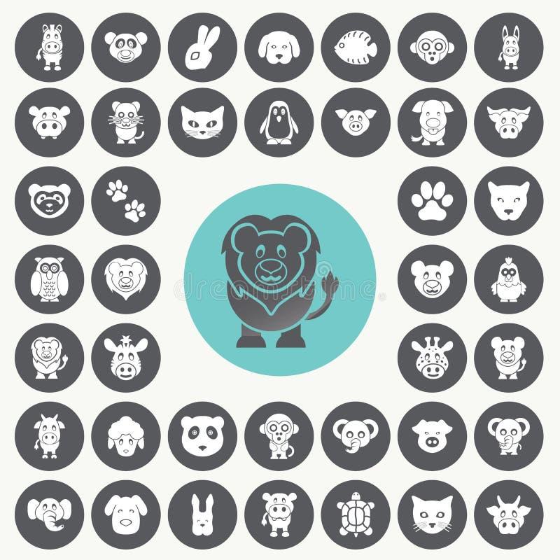 Ícones animais engraçados ajustados ilustração stock