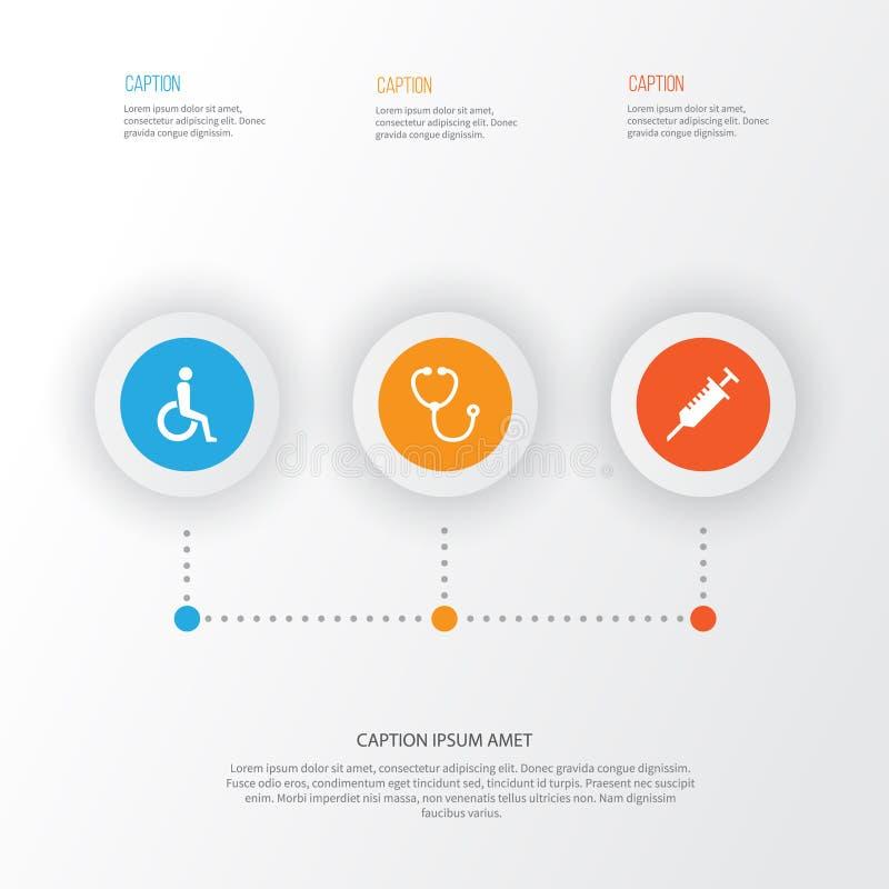 Ícones antibióticos ajustados Coleção do dispositivo, deficiente, Peck Elements Igualmente inclui símbolos como a cadeira de roda ilustração stock