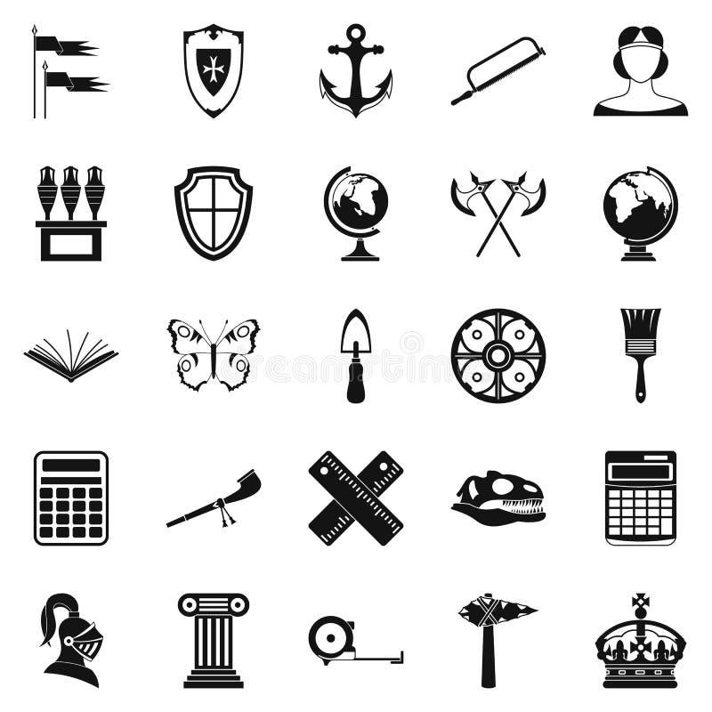 Ícones antigos ajustados, estilo simples do mundo ilustração royalty free