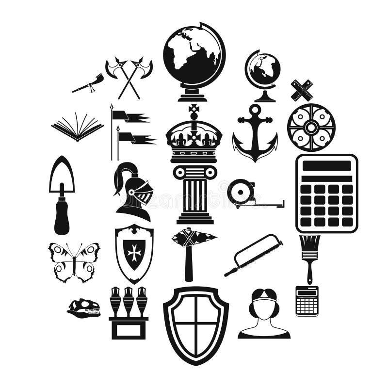 Ícones antigos ajustados, estilo simples do mundo ilustração do vetor