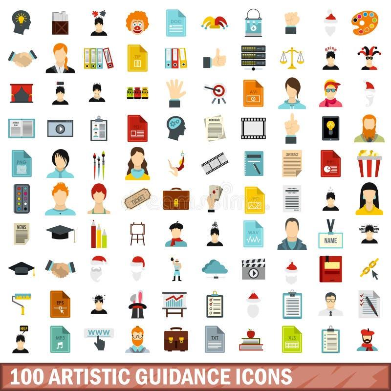 100 ícones artísticos ajustados, estilo liso da orientação ilustração do vetor