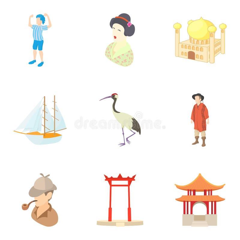 Ícones asiáticos ajustados, estilo da descoberta dos desenhos animados ilustração royalty free