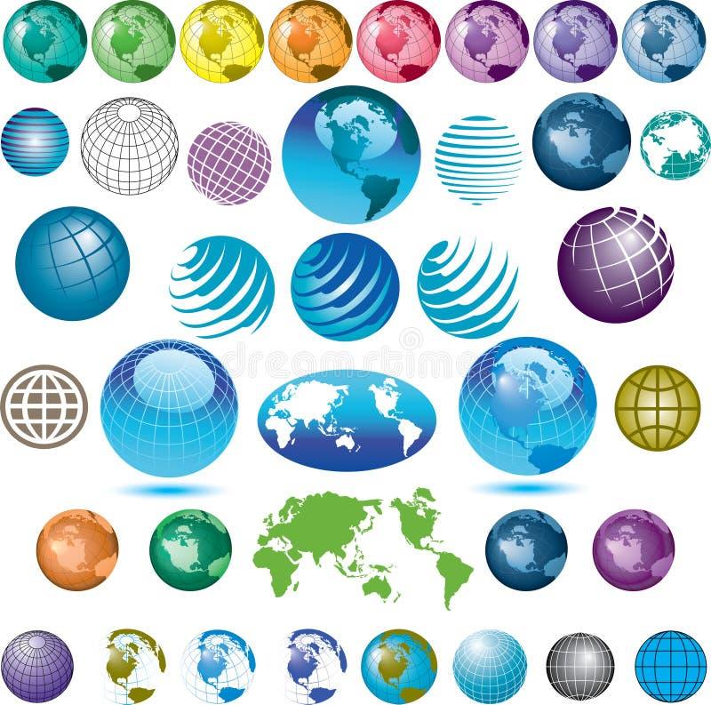 Ícones Assorted do globo ilustração do vetor