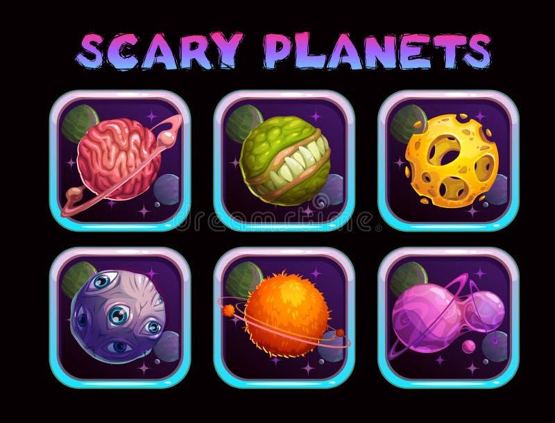 Ícones assustadores do app do planeta dos desenhos animados ajustados ilustração do vetor