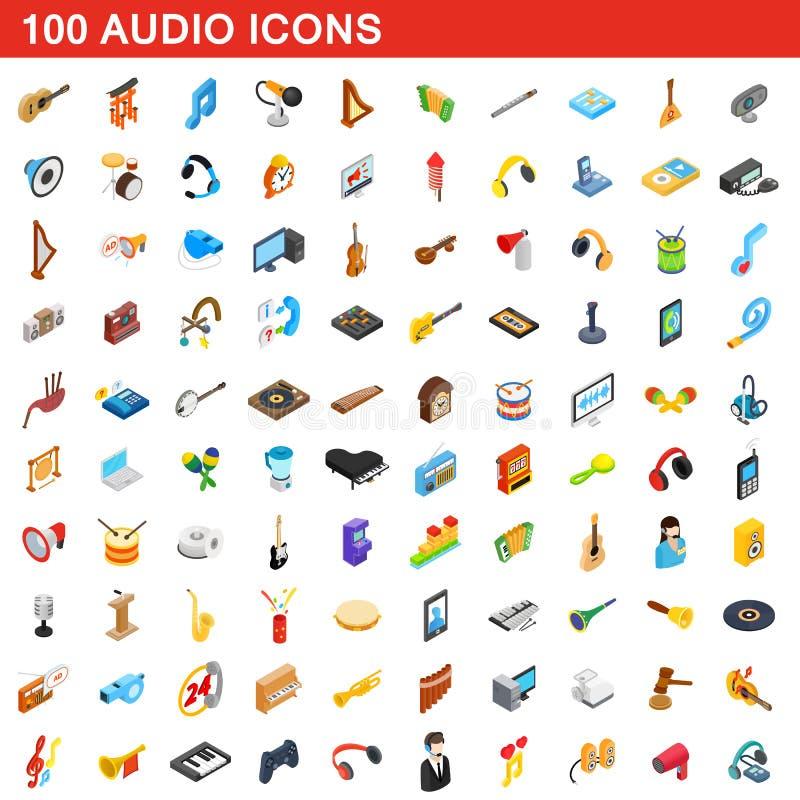 100 ícones audio ajustados, estilo 3d isométrico ilustração do vetor