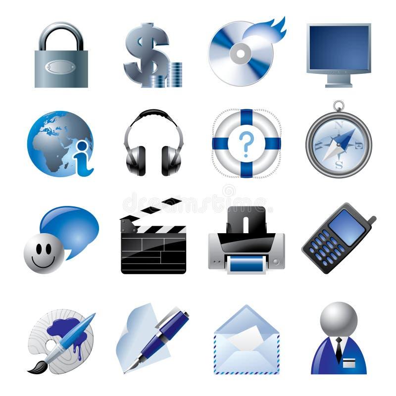 Ícones azuis 1 do Web site e do Internet ilustração do vetor