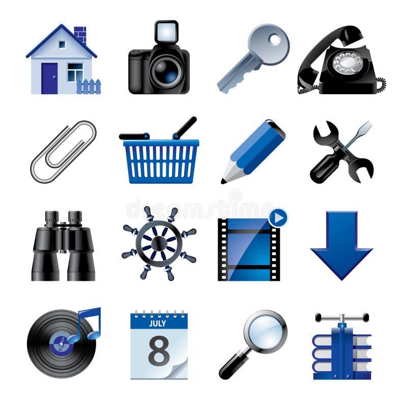 Ícones azuis 2 do Web site e do Internet ilustração stock