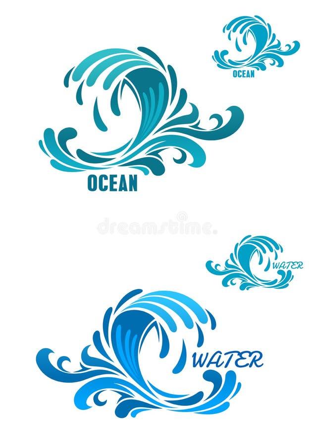 Ícones azuis da onda com swirly gotas da água ilustração do vetor