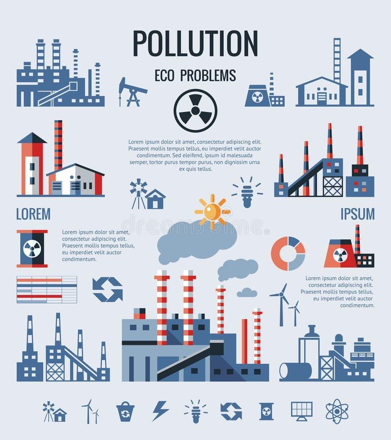 Ícones azuis da poluição da fábrica do vetor de Digitas ilustração do vetor